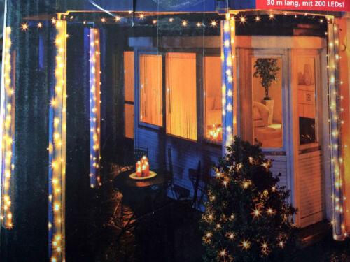 XXL LED LICHTERKETTE in Maxilänge 30m Drinnen Außen 200 LEDs Weihnachtsdeko NEU