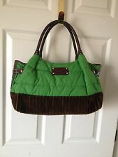 Kate Spade Kelly Green Chocolate Nylon Velvet Velour Leather Satchel Handbag EUC