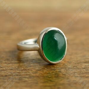 Natural-Oval-Green-Onyx-Gemstone-925-Sterling-Silver-Ring-Jewelry-Size-US-4-8