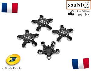 4x-Cache-Moyeu-Centre-Roue-Enjoliveur-Embleme-Jante-Logo-insigne-Audi-135MM-Noir