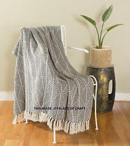 Ethnic-Black-Herringbone-Cotton-Couch-Throw-Rug-Sofa-Art-Decor-Bohemian-Blanket