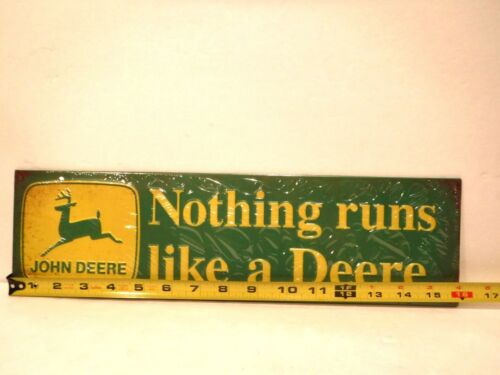 """John Deere Embossed Metal Sign /""""Nothing Runs Like A Deere/"""" New Collectible Sign"""