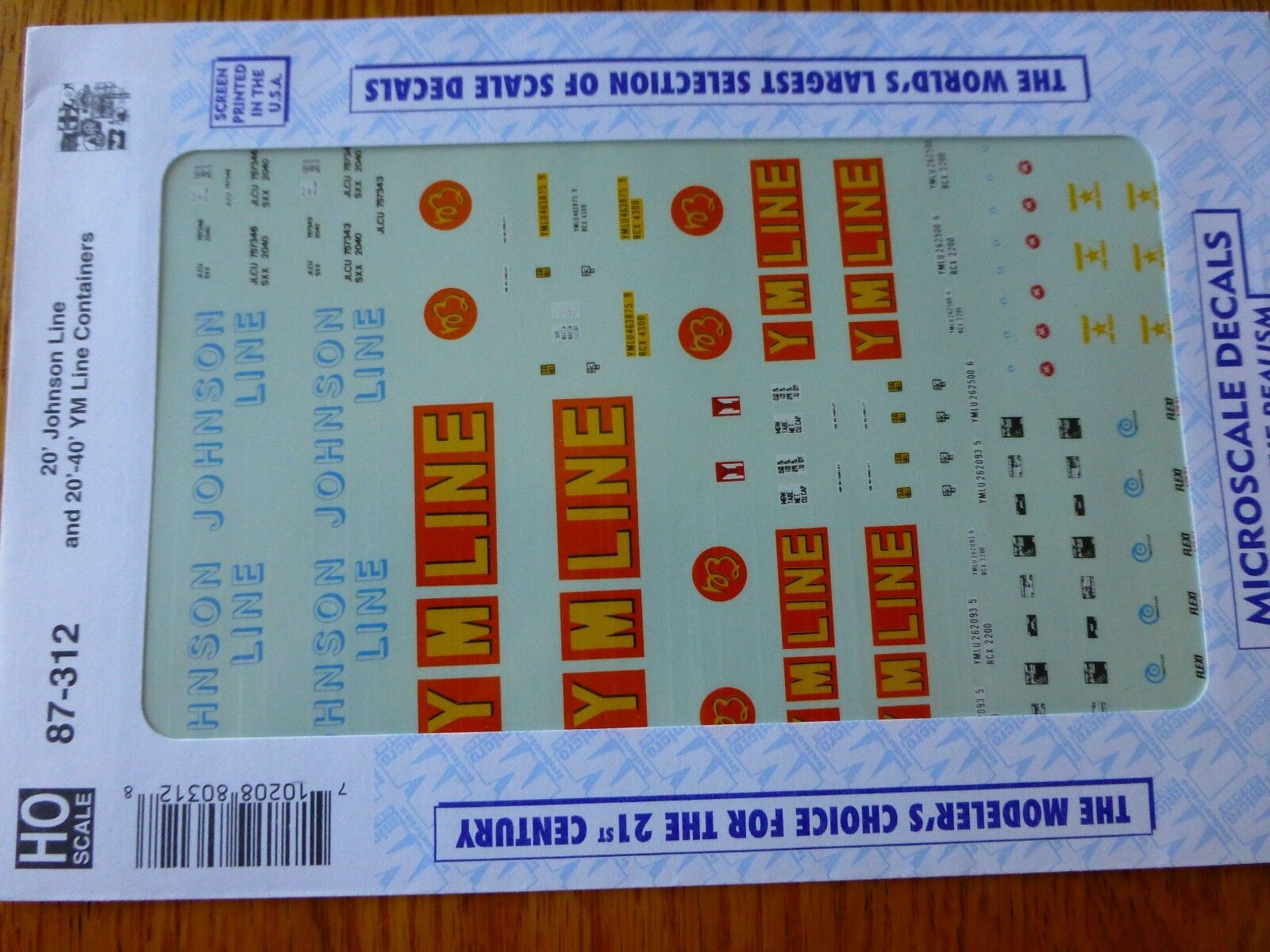 HO 20/' Johnson Line and 20 40/' YM Line Containers Decal Set Microscale #87-312 g