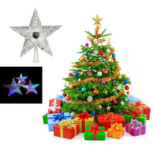 Details About Star Light Up Xmas Tree Topper Vintage Christmas Treetop Ornament Craft 14cm