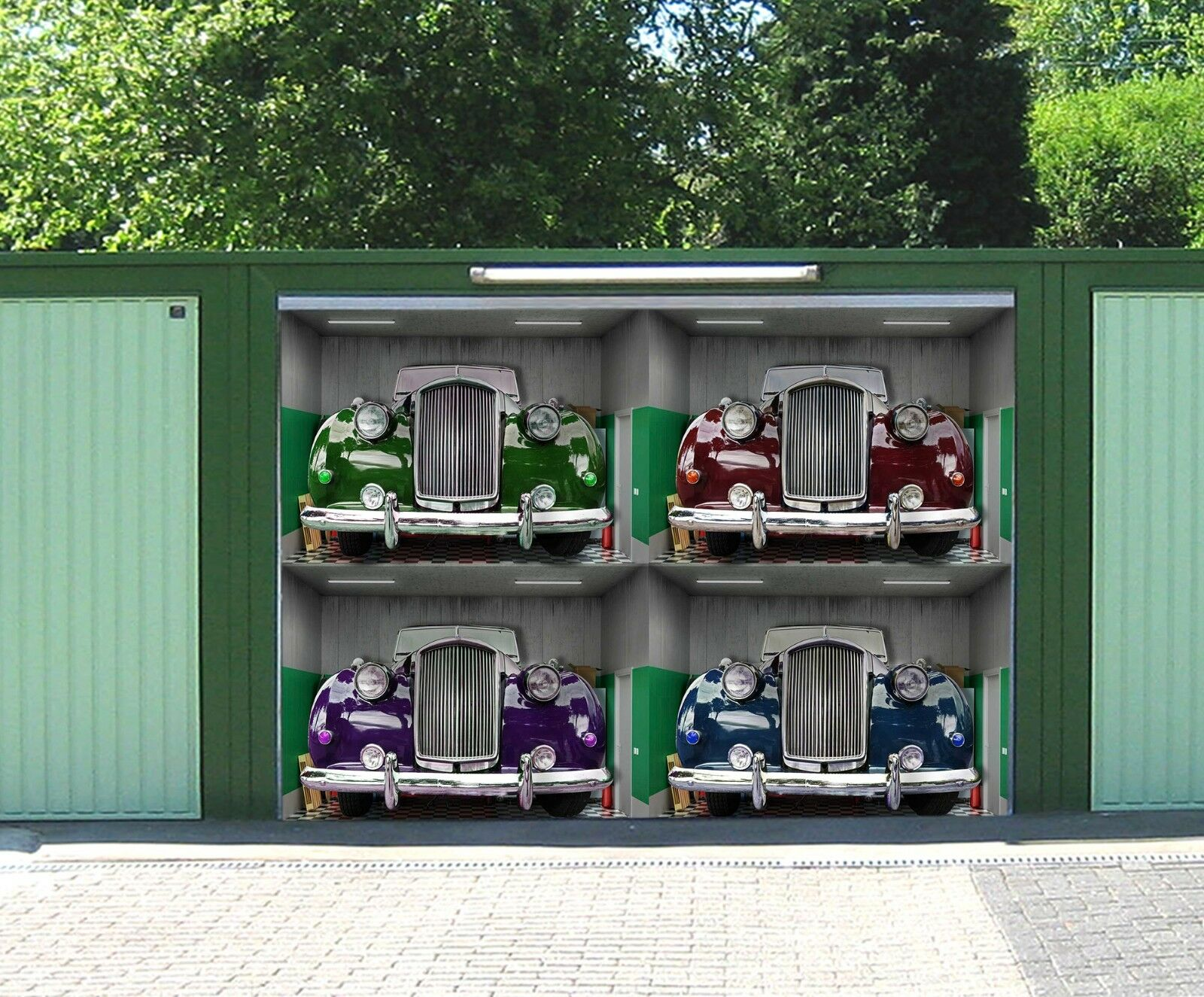 3D Farbeful cars 2 Garage Door Murals Wall Print Decal Wall Deco AJ WALLPAPER AU