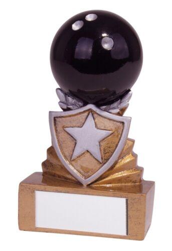 Résine Mini Shield Dix Quilles trophées 95 mm haute Gravure Gratuite