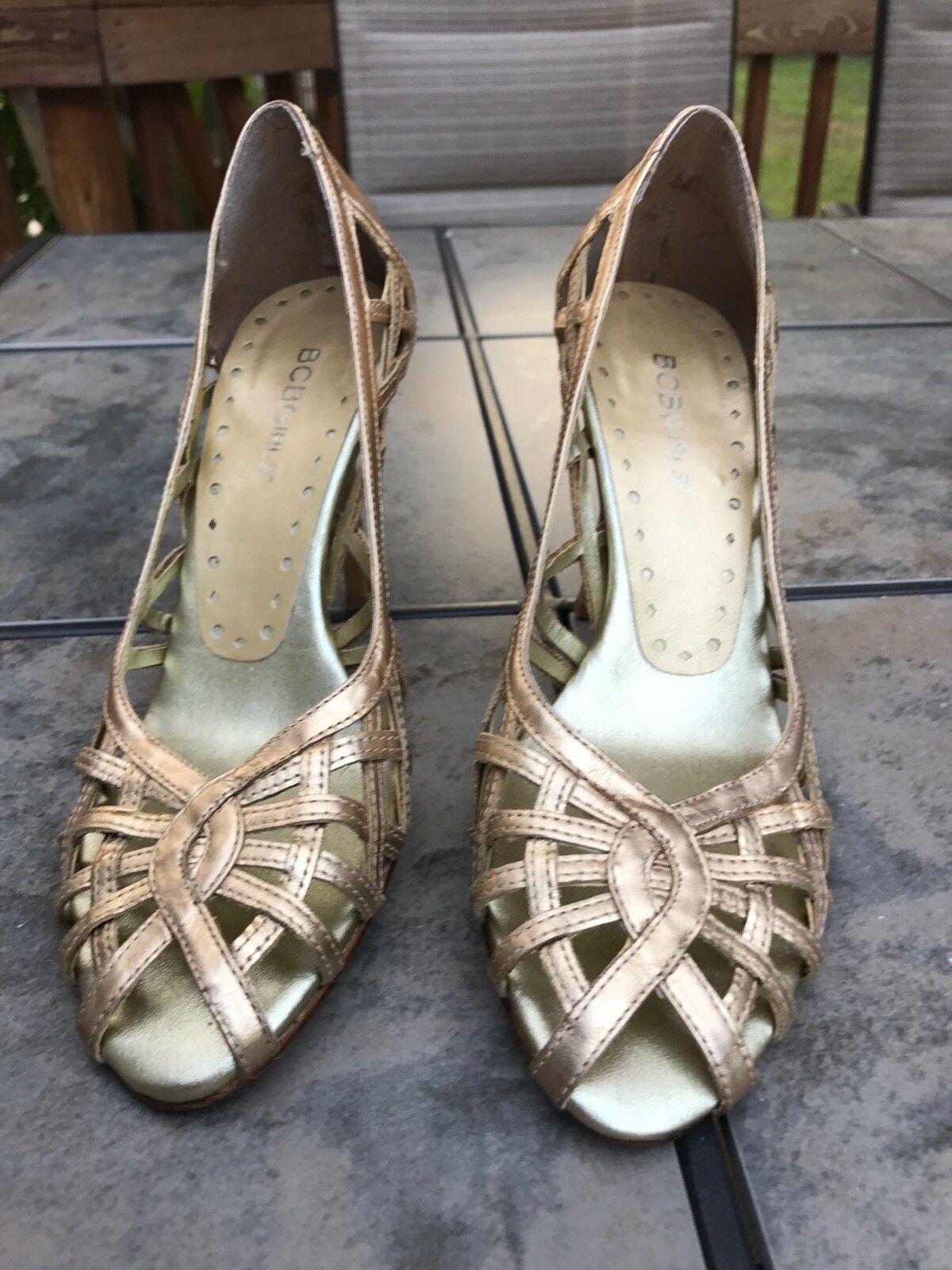 Women BCB Girls, Stiletto high Heels, Gold 7B, USA size, Pre-owne