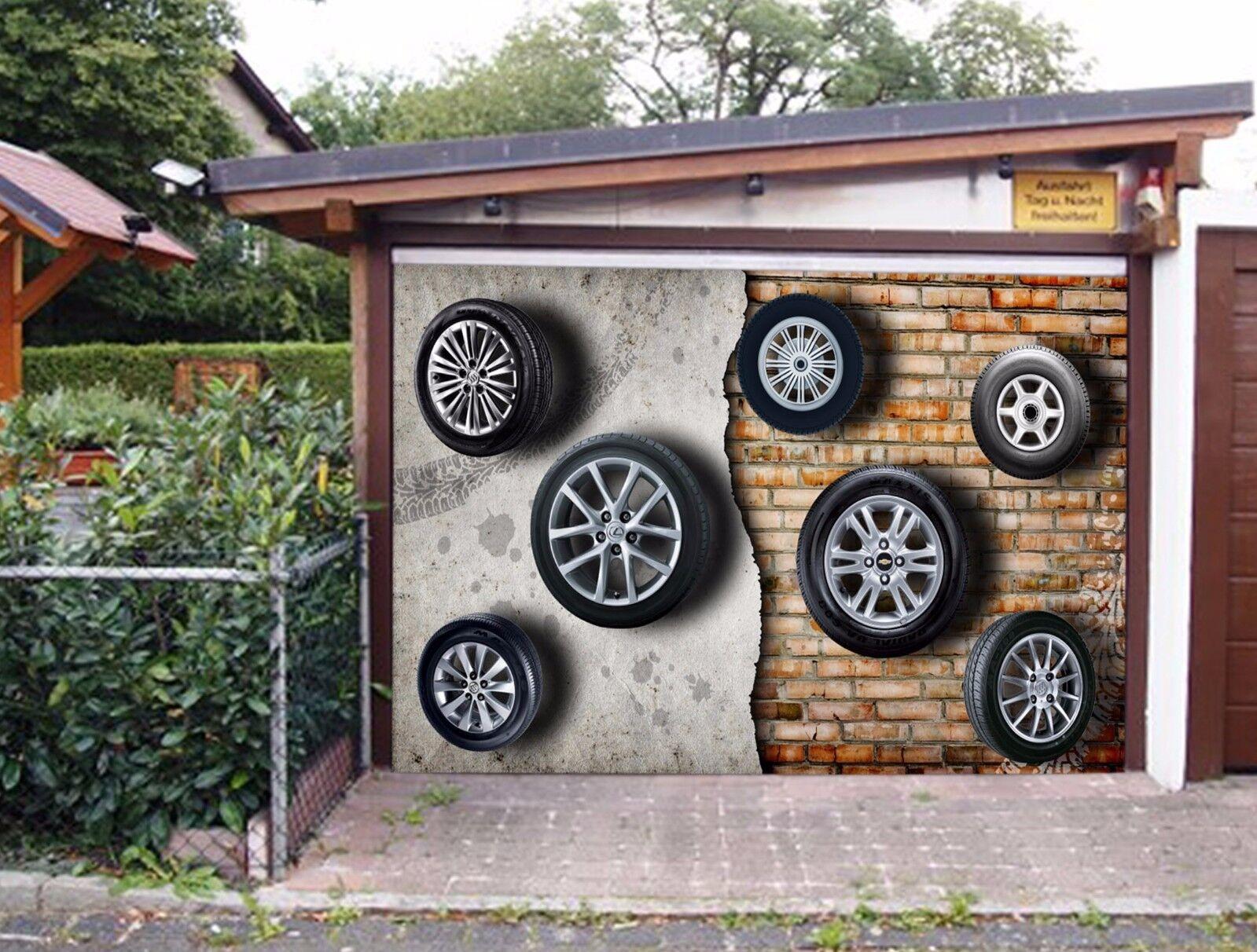 3D Stone Wall Tires 42 Garage Door Murals Wall Print Wall AJ WALLPAPER UK Lemon