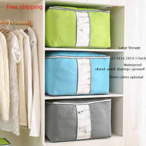 Large-Foldable-Non-woven-Clothes-Quilt-Blanket-Zipper-Storage-Bag-Organizer-Box