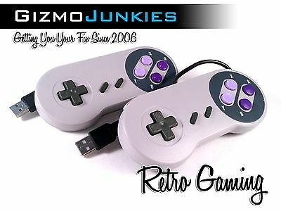 2x SNES USB Super Nintendo Retro Classic Controller for PC/Mac/Raspberry Pi