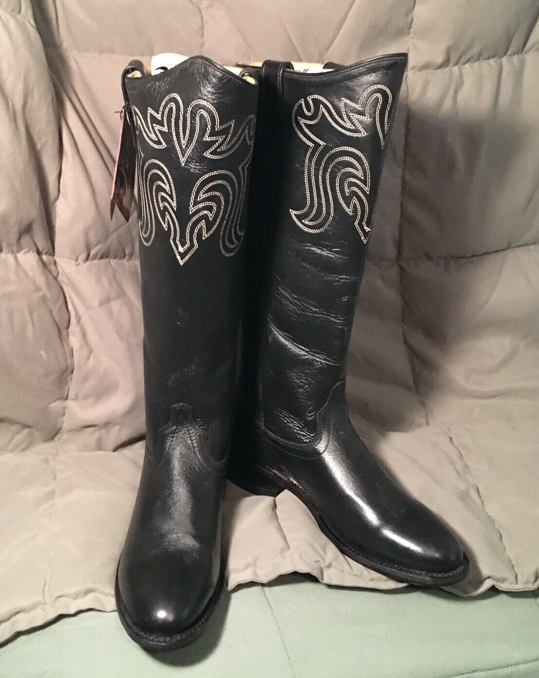 Old West Black Womens All Leather 14in Tall Roper Toe Cowboy Boots 6 M