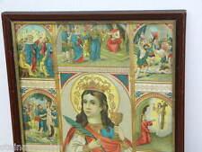 ca1900 HL BARBARA im Originalrahmen Heiligenbild Druck Litho Chromo holy picture