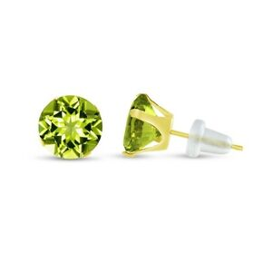 Round-Genuine-Green-Peridot-10K-Yellow-Gold-Stud-Earrings-Choose-Your-Size