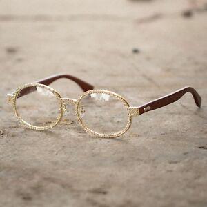 b7b6e828c2b Men  s Hip Hop Iced Out Diamond Gold Wood Glasses Christmas gift ideas