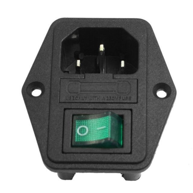 1x Green LED Rocker Switch Fuse Holder IEC320 C14 Inlet Power Socket AC250V 10A