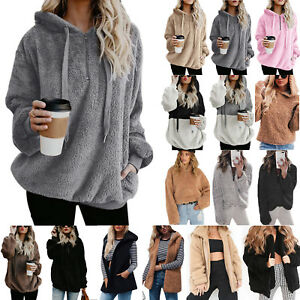Women-039-s-Thick-Warm-Teddy-Bear-Fluffy-Fleece-Coat-Jacket-Outwear-Hoodies-Sweater