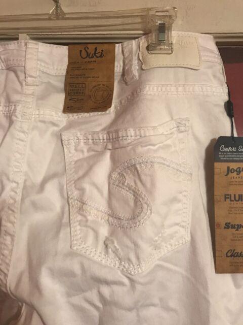 """2a5a79d7389 Buy Silver Jeans Silo Fit Size 18 L24"""" Capris White Super Stretch ..."""