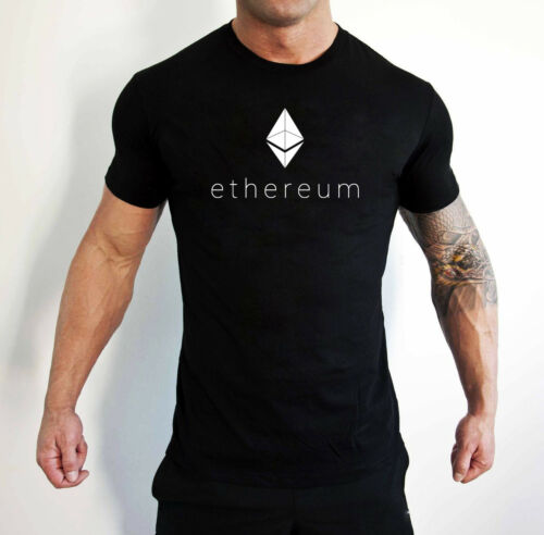 BLACK ETHEREUM MENS FASHION T-SHIRT VINYL PRINTED ETH LOGO