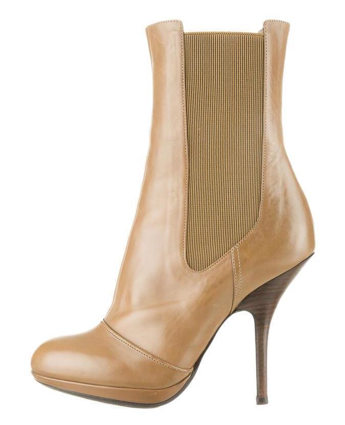 DRIES VAN NOTEN Womens Brown Leather High-Heel Platform Ankle Boot Bootie 9-39