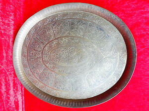 Effizient Großes,antikes Messing Tablett__orient__verziert__handarbeit__50,5cm SorgfäLtig AusgewäHlte Materialien Metallobjekte