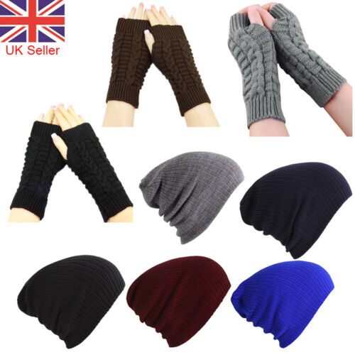 Soft Mittens Knitted Gloves Woolly Beanie Hat Cap Arm Warmer Protected Women Men