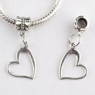 Fashion 10pcs Tibetan Silver heart Charm Beads Fit European Diy Bracelet