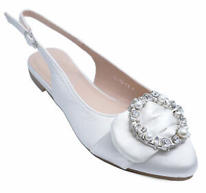 WOMENS-WHITE-FLAT-DIAMANTE-PARTY-PROM-WEDDING-DRESS-SHOES-PUMPS-SIZES-3-8