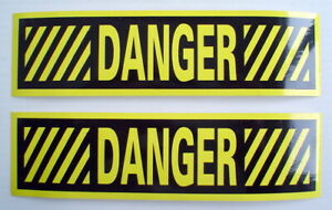 LOT-OF-2-GLOSSY-STICKERS-034-DANGER-034-FOR-INDOOR-OR-OUTDOOR-USE
