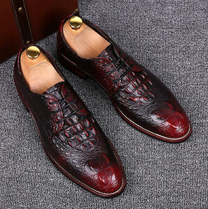 Image is loading Mens-Oxfords-Dress-Crocodile-Leather-Wedding-Business-Lace- d829f91cf15a