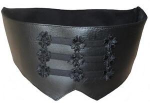 Cummerbund-Men-black-Faux-leather-elegant-Steampunk-Gothic-Mode