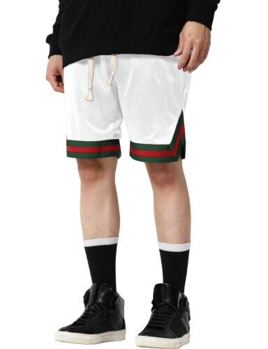 Mens MESH SHORTS TRACK STRIPE Basketball Gym Soft Summer Pants Drawstring Jogger