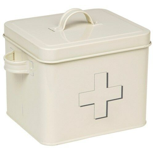 Retro / Vintage Style /Traditional Cream First Aid Tin Box / Storage Container