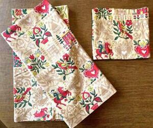 Vintage Mid Century Barkcloth Fabric Curtains German Dutch Folk