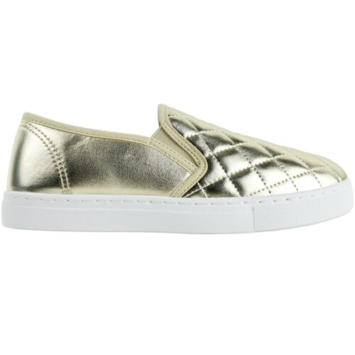 NEW Women/'s Round Toe Slip On Sneaker Comfort Cushioned Quilted Fashion Sneakers