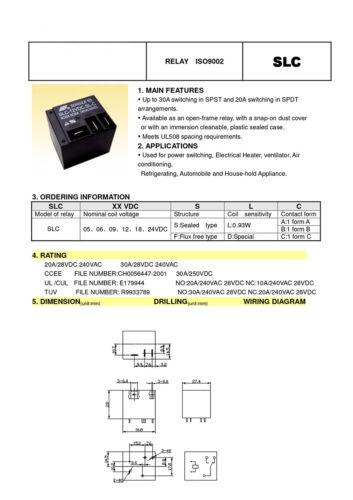 DC 5V 12V 24V PCB Relay 4 Pin 30A Black Power Relay SLC 1 Form A T91 Relay