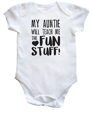 baby vest grow funny 10393 Long Sleeve My Auntie Loves Me To The Moon And Back