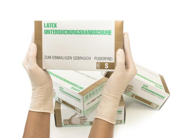 Einweghandschuhe Einmalhandschuhe Latexhandschuhe 100 Stück Box Gr S Latex weiß