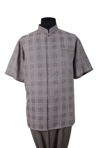 Men/'s Walking Suit Short Sleeve Banded-Collar Checker Casual Shirt /& Solid Pants