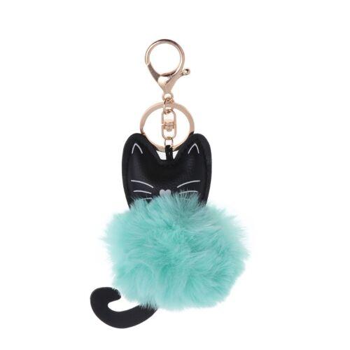 Cartoon Fluffy Ball Cat Key Chain Pompom Animal Tail Rabbit Fur Car Bag Keyring