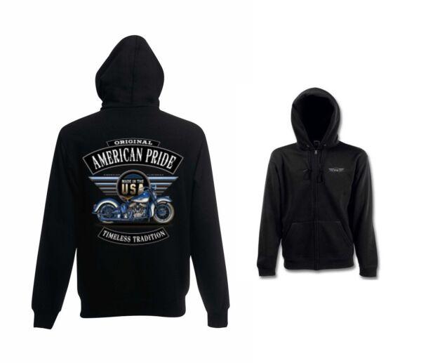 Sweatshirtjacke Schwarz HD Biker V Twin&OldSchoolmotiv Modell Modell Flatty Blue