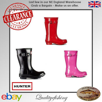 MILITARY RED UK7 or UK2 Hunter Original Kids GLOSS Wellington Boots//Wellies