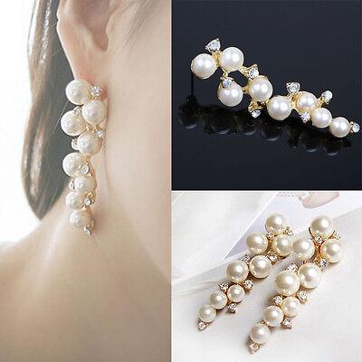 Chic Korea Elegant Wedding Bride Pearl Clear Crystal Women Stud Dangle Earrings
