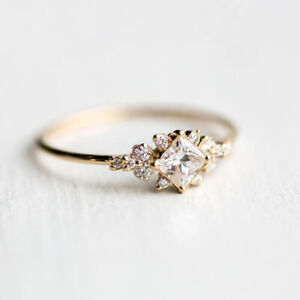 Dazzling-Princess-Cut-White-Sapphire-18K-Gold-Ring-Wedding-Jewelry-Sz-5-11