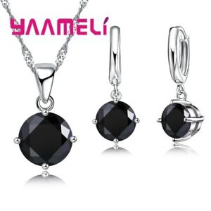 925-Sterling-Silver-Black-Crystal-Cubic-Zirconia-Necklace-Pendant-amp-Earring-Set