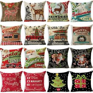 Christmas Home Decor Cotton Linen Pillow Case Cover Sofa Throw Cushion Cover