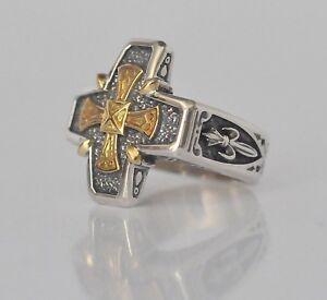 Konstantino-Men-039-s-Cross-Shaped-Ring-Sz-11-Sterling-Silver-18K-Gold-Cross-Stavros