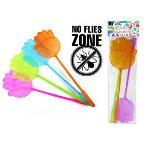 Alerte Fly Swatter Insecte Nuisible Catcher 4 Pack Vert Rose Bleu Orange Moustique Cuisine-afficher Le Titre D'origine Quell Summer Soif