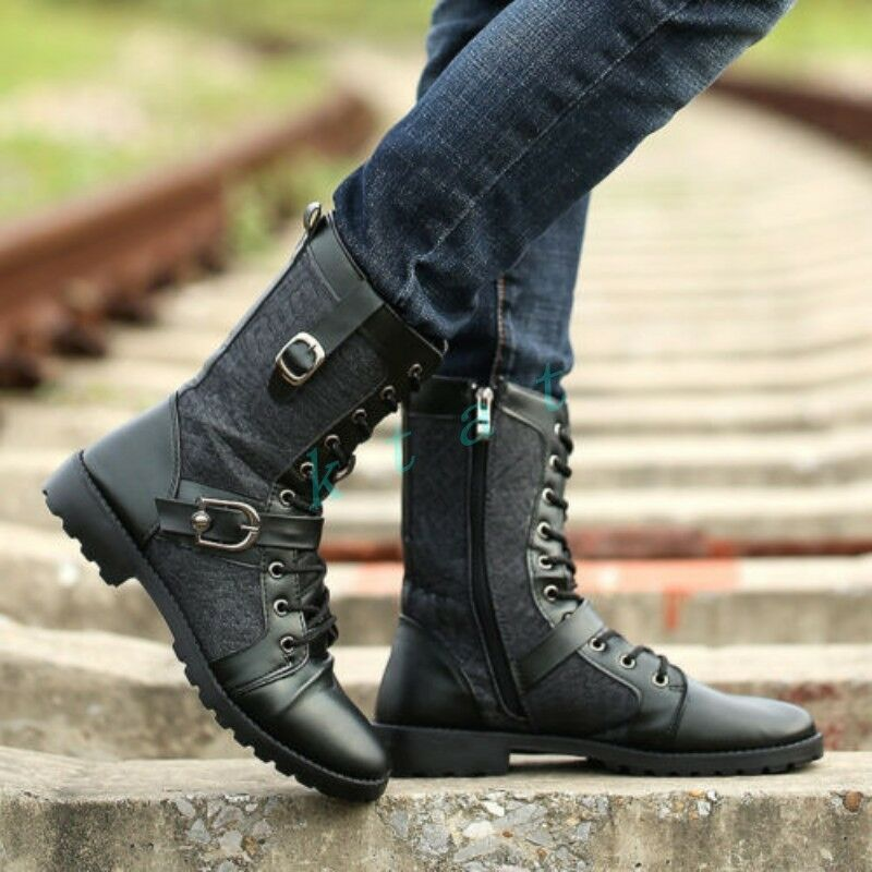Mens Combat Knight Buckle Strap Lace Up Cowboy shoes Military Mid-calf Boot shoes
