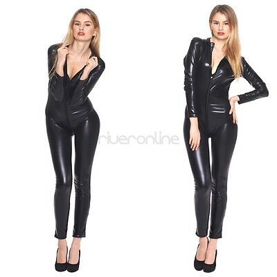 Sexy Ladies Womens Clubwear Zipper Catsuit Catwoman Jumpsuit Bodysuit Costume