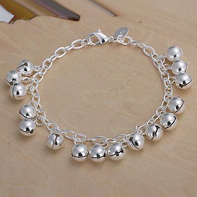 New Women 925 Silver Sterling Plated Jingle Balls Charm Chain Bracelets Bangle